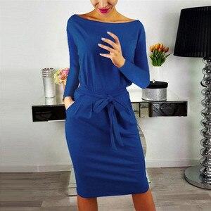 Image 2 - 2019 herbst Winter Kleid Frauen Langarm Schwarz Blau Kleid Beiläufige Dünne Schärpen Midi Baumwolle Kleid Plus Größe Mode Kleidung 3XL