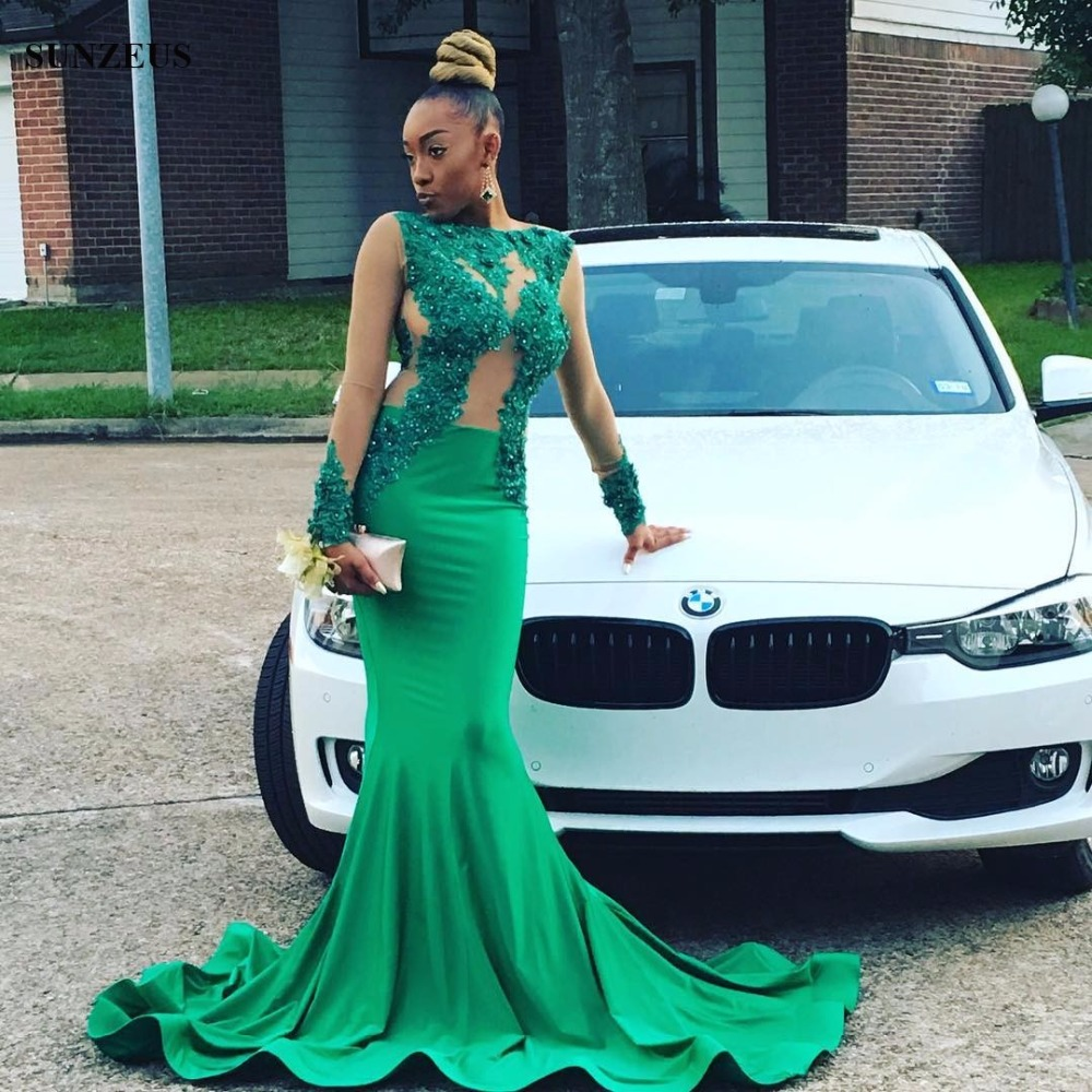 Emerald Green Mermaid Prom Dress With Long Sleeves Sexy Appliques ...