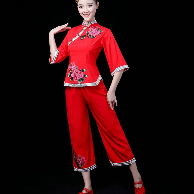 Chinese folk dance clothing pant suits Chinese dance costumes yango drum  fan stage dance wear outfit performance FF753 632359611