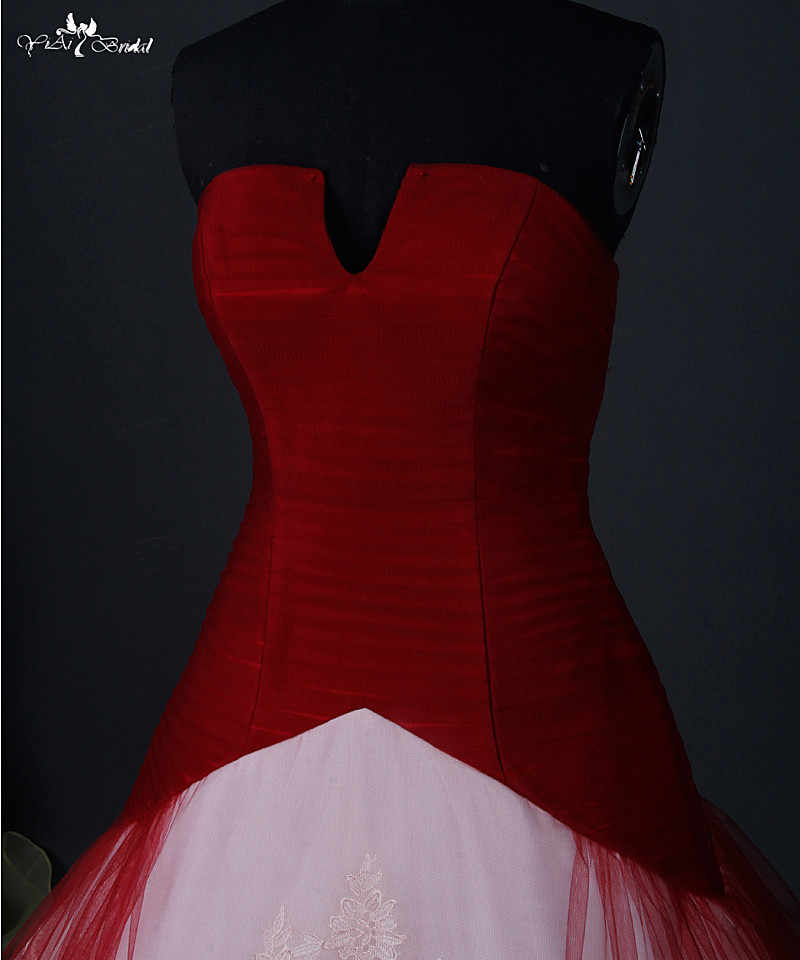 f3537fd9bbbba RSW884 Red Wedding Dress Ball Gown Small Open V Neck Cheap Red And White  Wedding Dresses Robe Mariage
