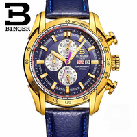 Suíça BINGER Mens Relógios Top Marca de Luxo Relógio Do Esporte Do Relógio de Aço Completo Relógio de Quartzo Dos Homens Casuais À Prova D' Água Relógio de Ouro Relogio