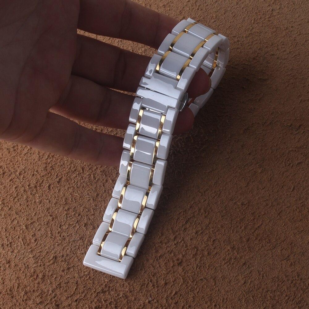 Bracelet de montre en céramique 14 15 16 17 18 19 20 21 22 24mm bracelets de montre bracelet blanc bracelet de montres bandes résistantes à l'eau - 4