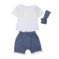 Newborn Kids Toddler Girl Clothing Lace Ruffle Top T-Shirt+Tassel Shorts Pants Summer Cotton Outfit Set Cute Two Piece Set
