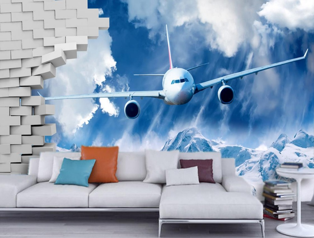 modern wall paper Custom 3d wall mural Residual wall snowboarding plane living wall murals 3d abstract wallpapers