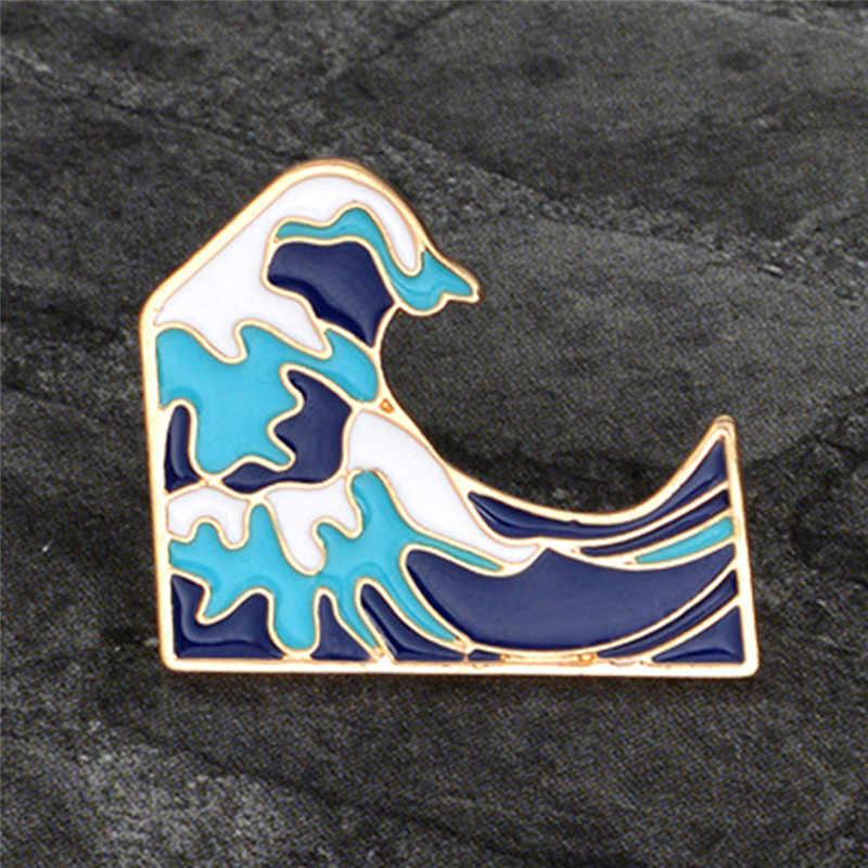 Baru Biru Gelombang Bros Enamel Pin Gesper Kartun Logam Bros untuk Jaket Mantel Tas Pin Laut Perhiasan Hadiah untuk anak-anak Gadis Wanita