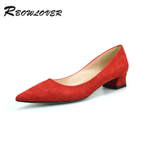 RBOWLOVER 2018 Women Shoes Square Heels Point Toe Pumps Flock Material Hot Selling Pumps Women Shoes
