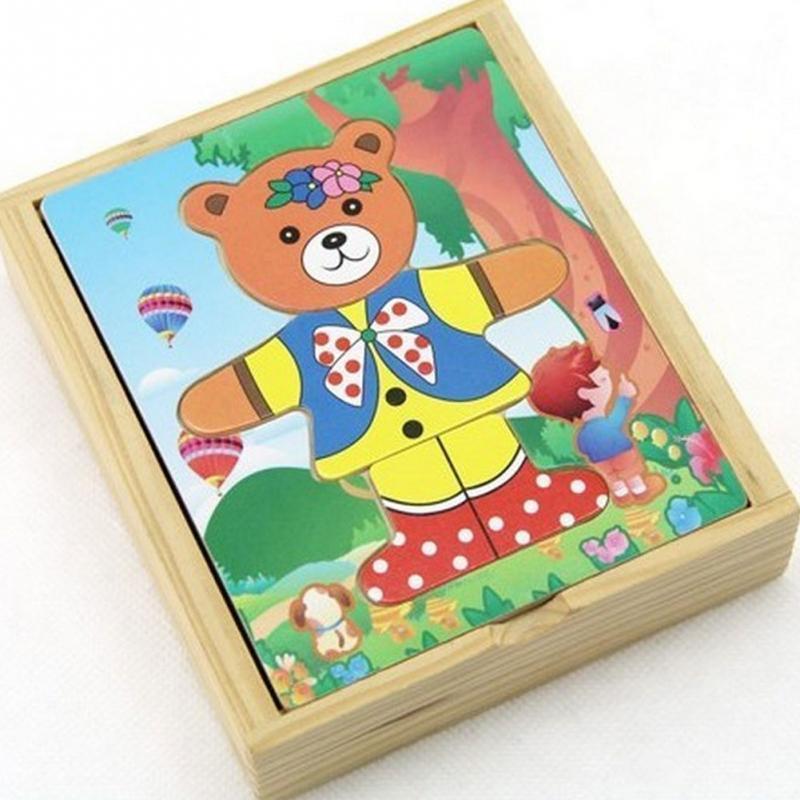 Забавные деревянные Носки с рисунком медведя из мультика для детей Развивающие головоломки Развивающие игрушки животных
