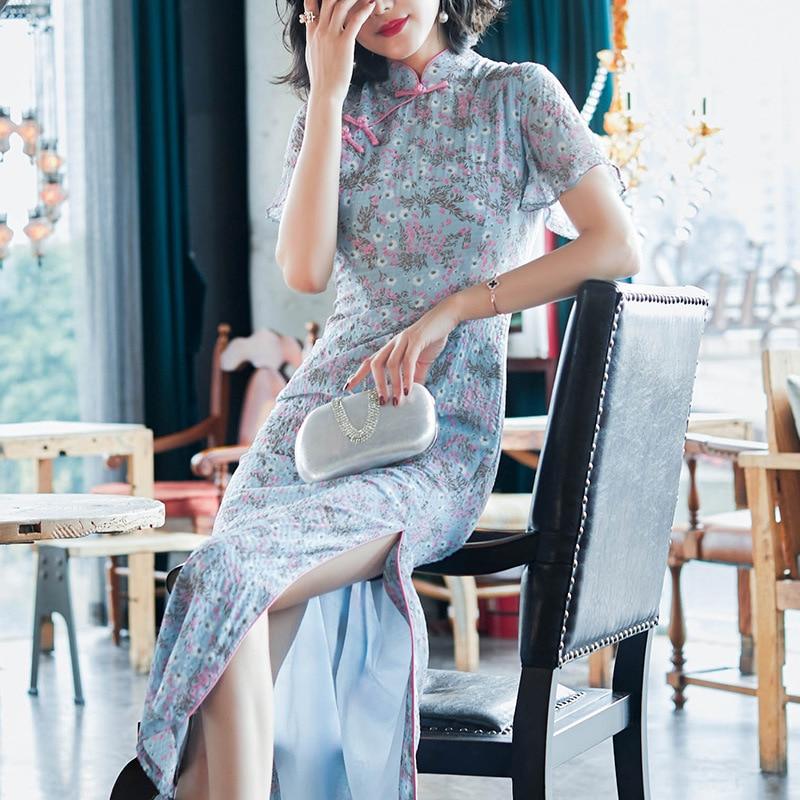 D'été Mince Chinois Robe Mousseline Taille Sexy Cheongsam Femmes Oriental Mode Vintage En Blue Gray D'impression Grande Élégant Amélioration rBoedCx