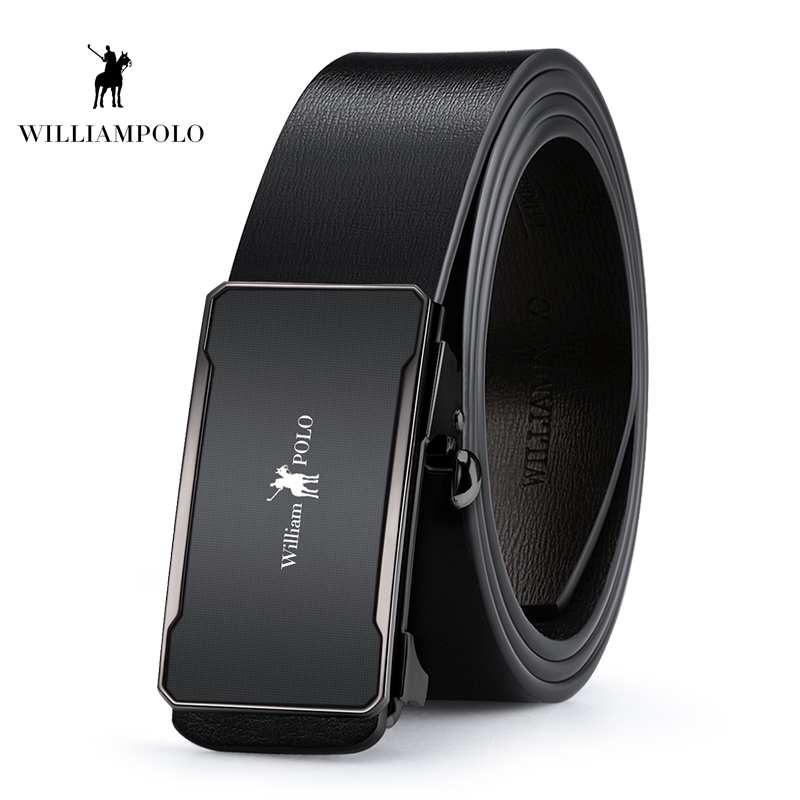 Williampolo 2019 Fashion Brand Leather Belt Business Trouser Strap Pant Cowskin Automatic Buckle Cowhide Men Belts PL18397 98P in Men 39 s Belts from Apparel Accessories
