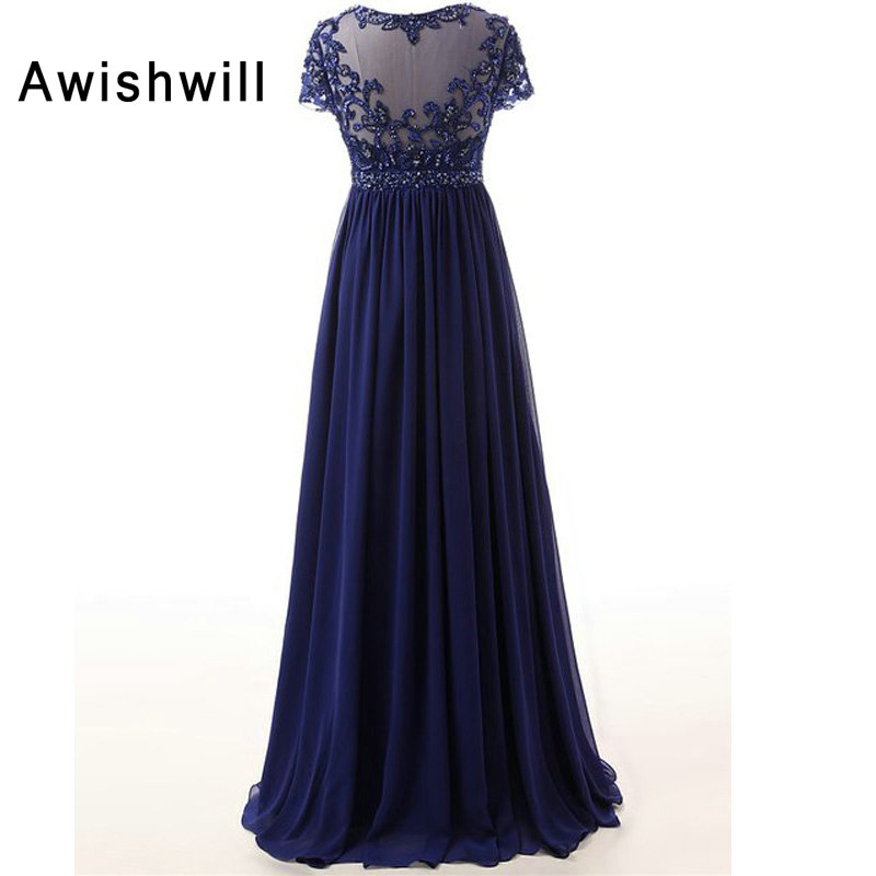 New Arrival Scoop Neckline Beaded A Line Chiffon Long Mother Dresses Elegant Evening Dresses For Weddings 2019-in Mother of the Bride Dresses from Weddings & Events    2