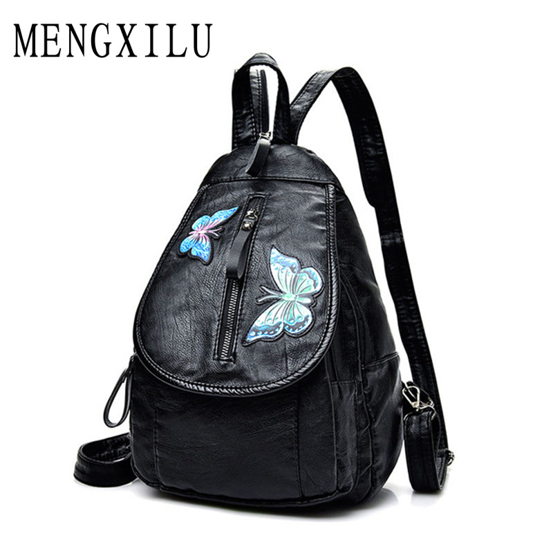 Backpacks Women Backpack Black Soft Washed Leather School Bags For Girls Fashion Embroidery Butterfly Shoulder Bag Lady Mochilas women backpacks fashion pu leather shoulder bag small backpack women embroidery dragonfly floral school bags for girls