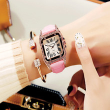 Vintage rhinestone womens watch fashion student quartz leather belt ladies female models  Fashion & Casual