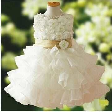 ФОТО Free Shipping Party Flower Girl Dresses for Weddings Elegant Ball Gown Pure White Princess Dress Birthday Weddings