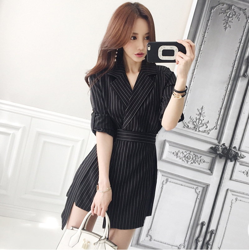 d24d8c51992 2018 Autumn Office Black Striped Playsuit Women Long Sleeve Notched Collar  Playsuits Shorts Vintage Elegant Jumpsuit Vestidos-in Rompers from Women s  ...