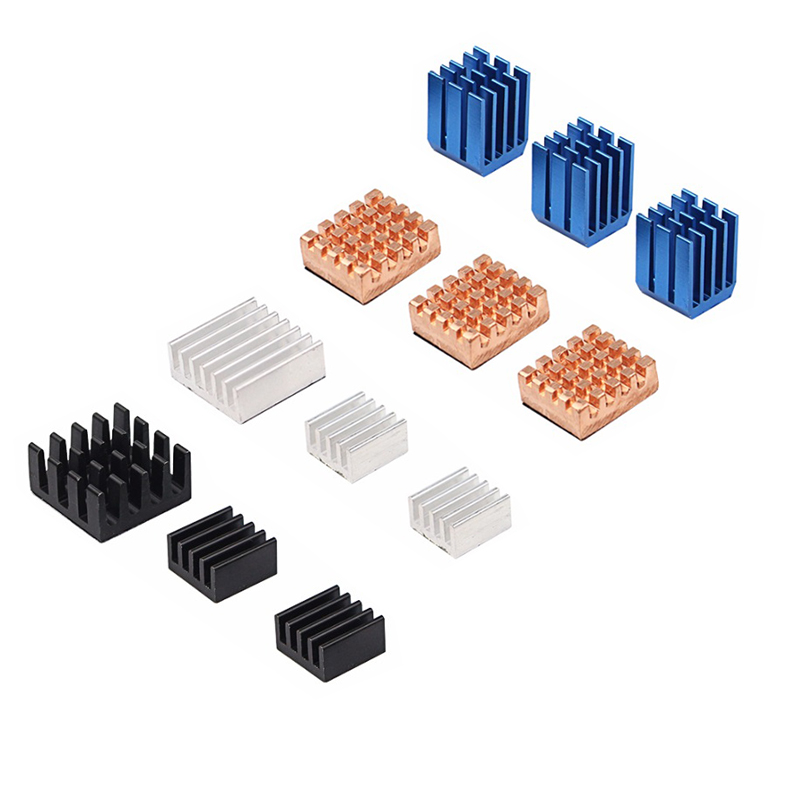 12 In 1 Raspberry Pi 3 Model B+ Plus Heat Sinks Copper + Aluminum Heat Sink Heat Dissipation Pad CPU ROM WLAN Cooling Pad