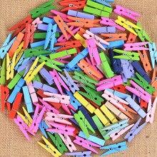 50 шт. красочные мини деревянные зажимы для фото прищепки ремесло креативные декоративные зажимы Деревянные прищепки 2,5 см