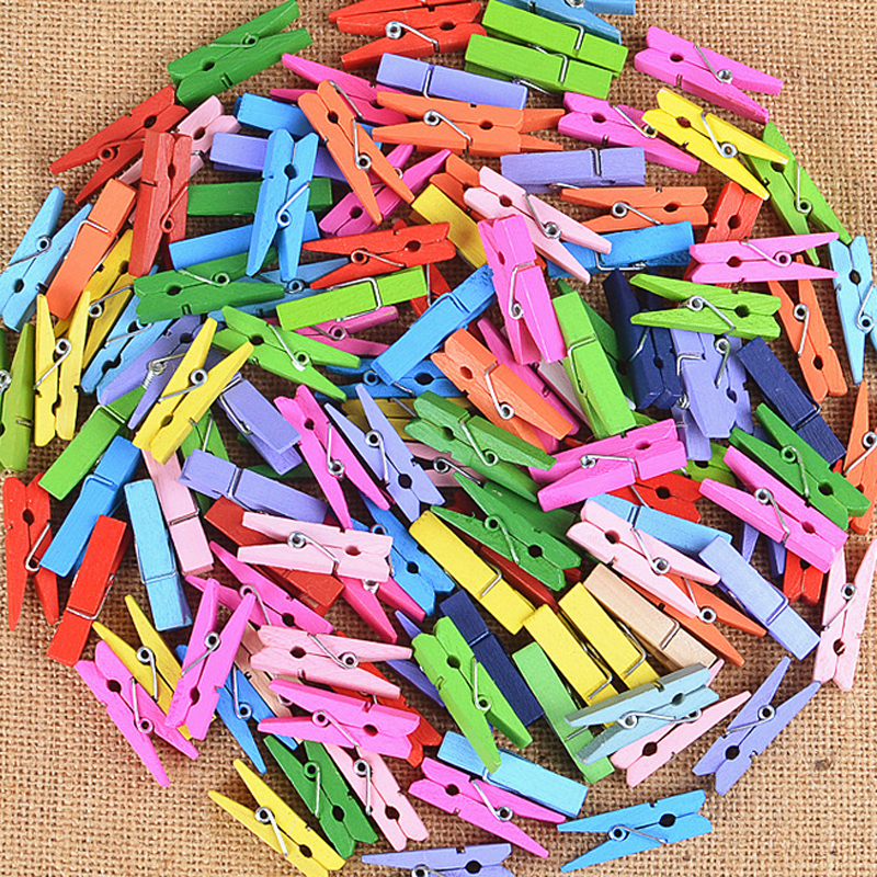50pcs Colorful Mini Wood Clips For Photo Clips Clothespin Craft Creative Decoration Clips Wooden Pegs 2.5cm