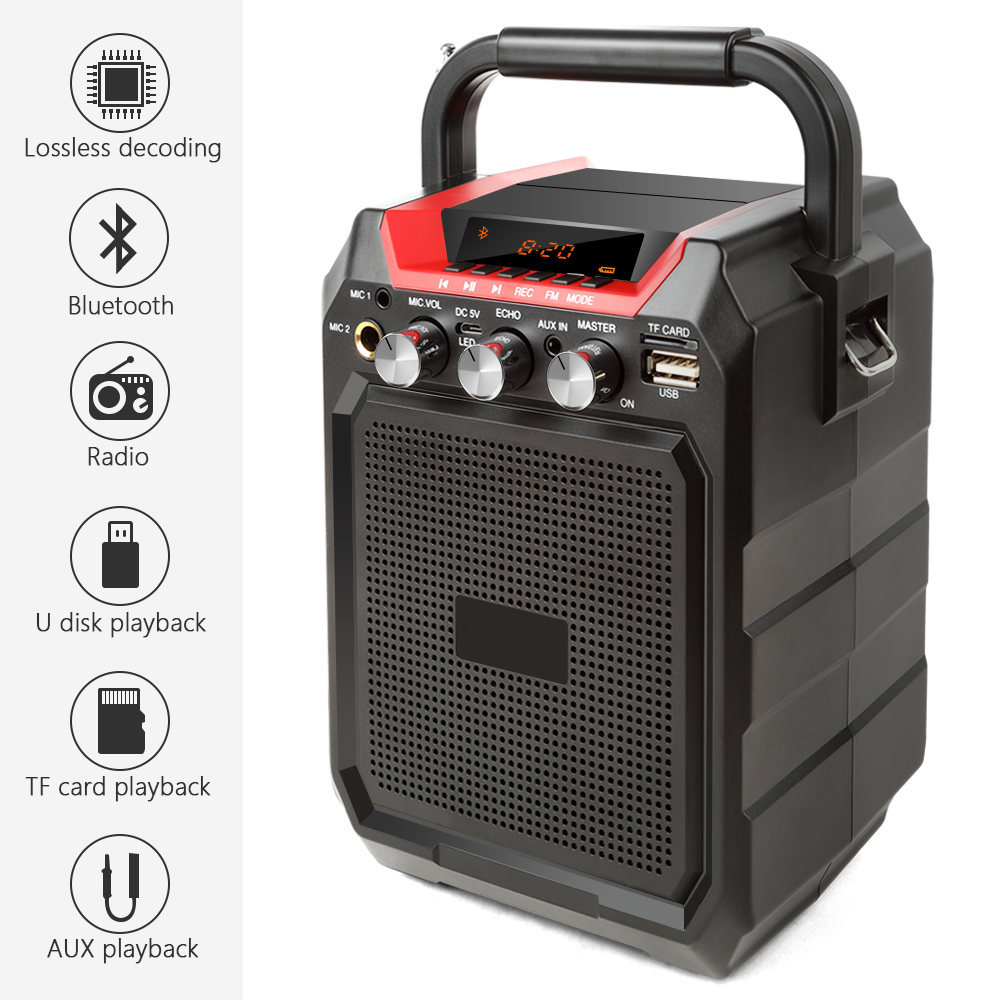 Ituf Portable Bluetooth Speaker Wireless 3D Sound System Stereo Music Subwoofer Support AUX FM TF Microphone