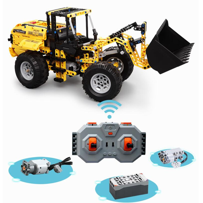 Technic Engineering Vehicle RC Remote Control Bulldozer Excavator Building Blocks Toys for Children Compatible With L Brand-in Blocks from Toys & Hobbies    2