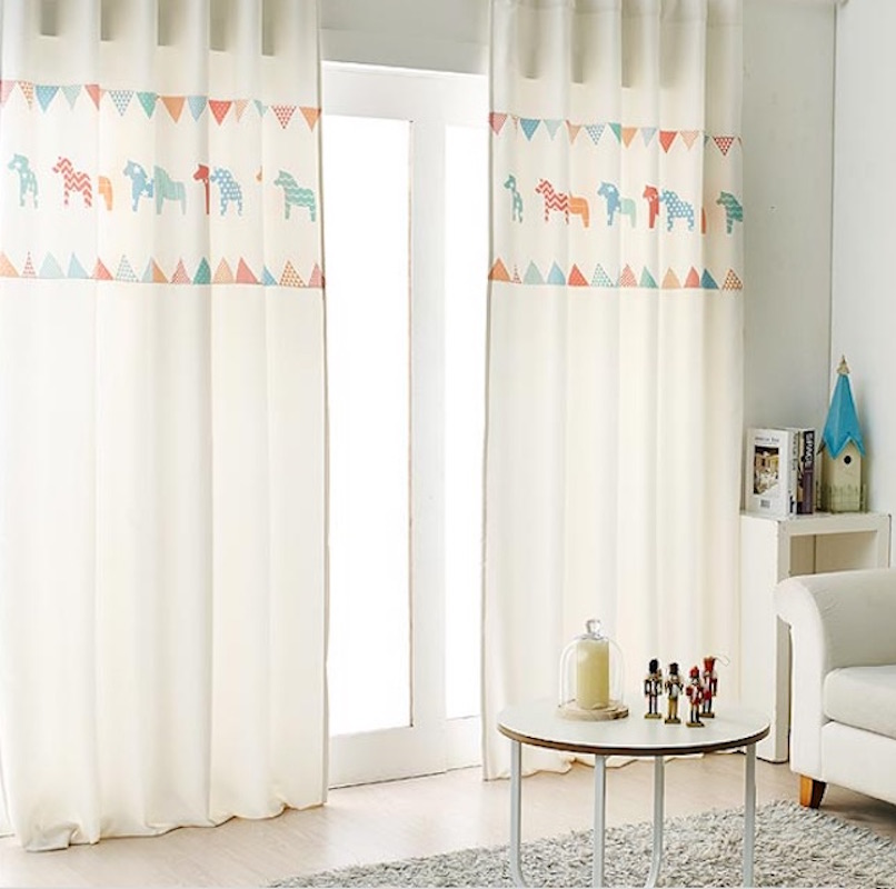 Draw Grommet Drapery Drape Curtain Nursery Kids Children Room Window Dressing Covering 145 X 180cm 220cm 240cm 270cm Horse
