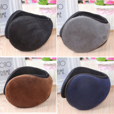 Unisex Plush Earmuffs Women Man Winter Warm Earmuff Black 10cm Ear Wrap Accessories