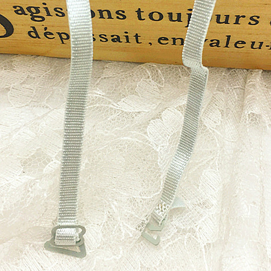 1 Pair Elastic Bra Strap Black White 1cm Width Nylon Elastic Fabric Hook Adjustable Bra Straps For Ladies With Metal Clips