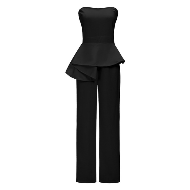bce3b2489c4 Women Black White Peplum Jumpsuits Sexy Off Shoulder Strapless Club  Jumpsuits Nightout Wear Backless Full
