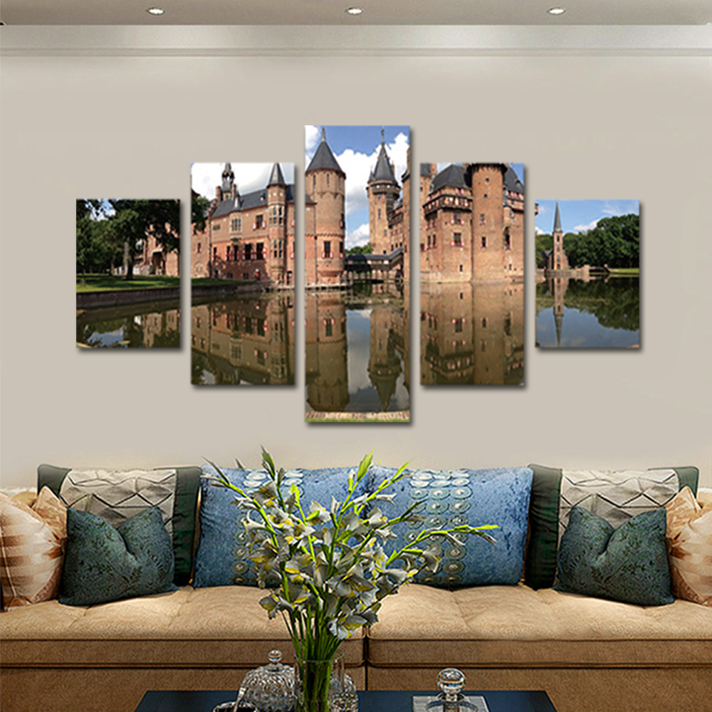 Unframed Canvas Painting European Architecture Water Castle Photo Prints Wall Pictures For Living Room Wall Art Decoration