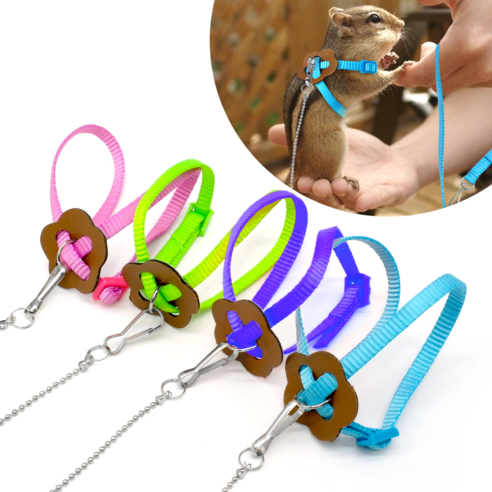 Nylon Pet Harness And Leash For Hamster Adjustable Ferret Rat Mouse Bunny Harnesses Vest Lead Rope Leash Guinea Pig Accessories