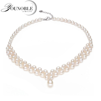 New Fashion Multilayer Freshwater Pearl Necklace Double Natural Real White Pearl Necklace Pendant Jewelry For Women
