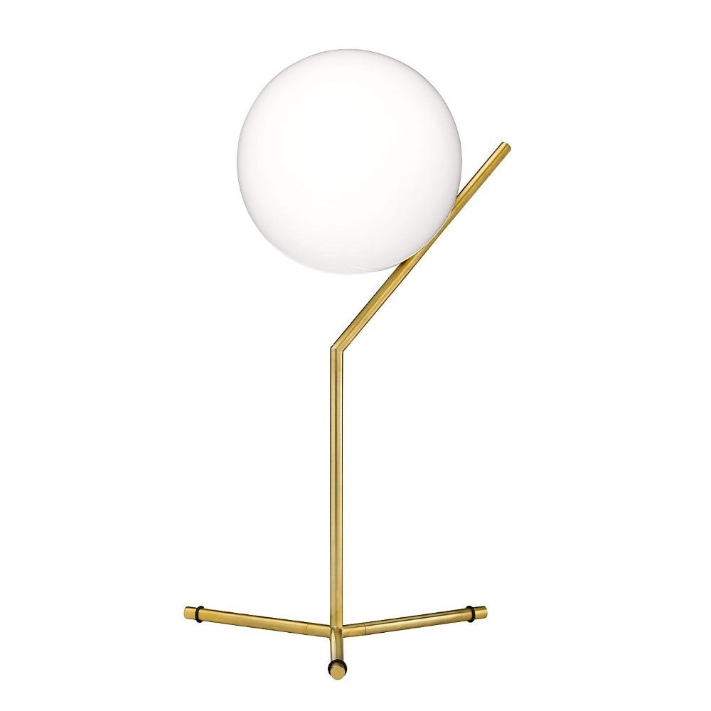 Twórczy Biały Ball Lampa Stołowa Szkło Złoto Biurko Biuro