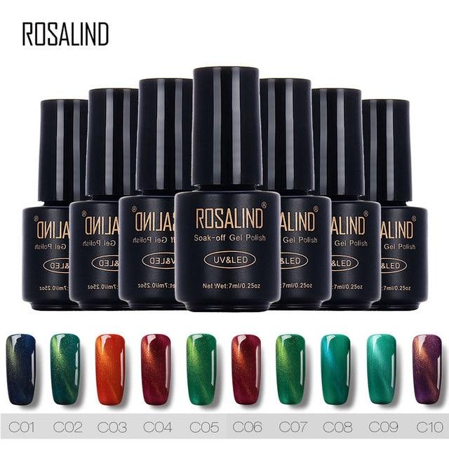 ROSALIND C01 C10 Colorful Magnetic Cat Eyes UV LED Gel Nail Polish ...