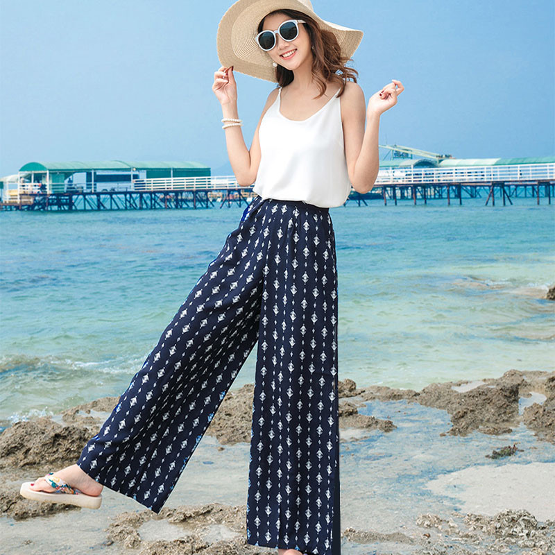 Summer Women   Wide     Leg     Pants   Loose Print Flowers Large Size   Pants   High Waist Beach   Pants   Loose Bohotrousers 2019 New Ma437