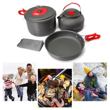 ALOCS CW-C19T Cookware Set Outdoor Camping Pots Frying Pan Kettle Portable Picnic Cooking Tableware for 2-3 People