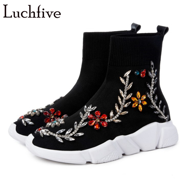 Crystal pearl embellished Knitted Elastic Ankle Boots for women embroidery flowers platform Flat casual sneakers Socks Shoes pair of stylish button lace embellished hemp flowers knitted leg warmers for women