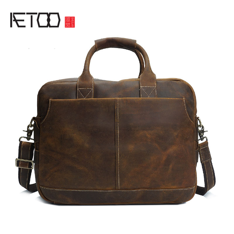 AETOO Retro crazy horse skin men bag portable computer bag men handbag leather male briefcase Messenger bagAETOO Retro crazy horse skin men bag portable computer bag men handbag leather male briefcase Messenger bag