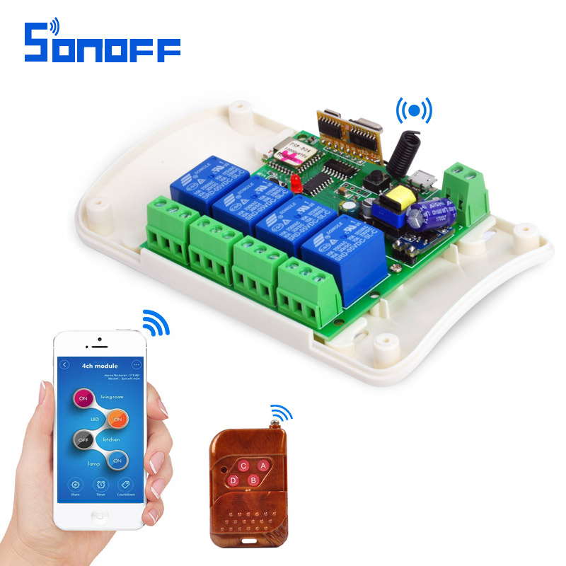 SONOFF AC85-250V 4 Channel Automation Module Jog Inching WIFI Wireless Smart Switch Relay rf receive 433mhz Remote Control 4ch sonoff 4ch channel remote control smart wifi switch home automation module on off wireless timer diy switch din rail mounting