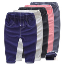 Hot Sale New Children's Winter Stretch denims pants girls and boys clothes trousers Cashmere Warm With velvet informal pants