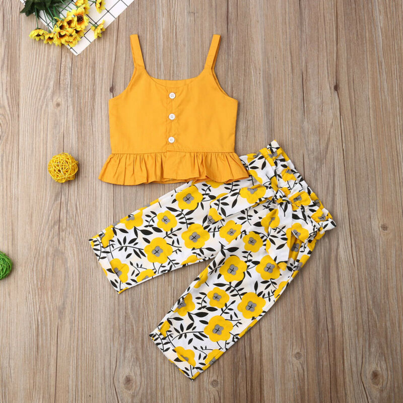 2019 New Toddler Baby Girl Summer Clothes Sling Crop Top Assay Dasiy Long Pants Summer Outfit Clopthing Set 6M-4Y Dropshipping