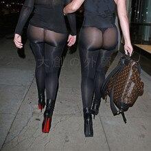 Сексуальные леггинсы с прозрачной вставкой эластичные прозрачные леггинсы обтягивающие брюки-карандаш женские брюки наряд для ночного клуба гладкая ткань