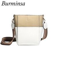 Burminsa Brand Spring Hit Color Genuine Leather Bags Women Designer Bucket Shopping Bags Causal Ladies Wide