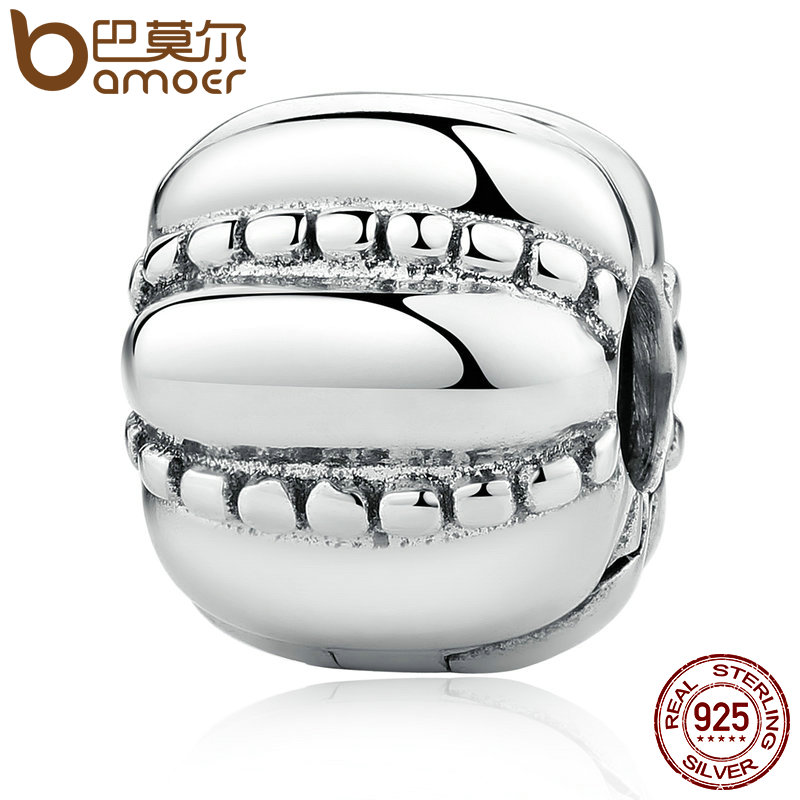 BAMOER New Arrival 925 Sterling Silver Crazy Clip Stopper Beads Charms fit Bracelet DIY Fashion Jewelry PSC010