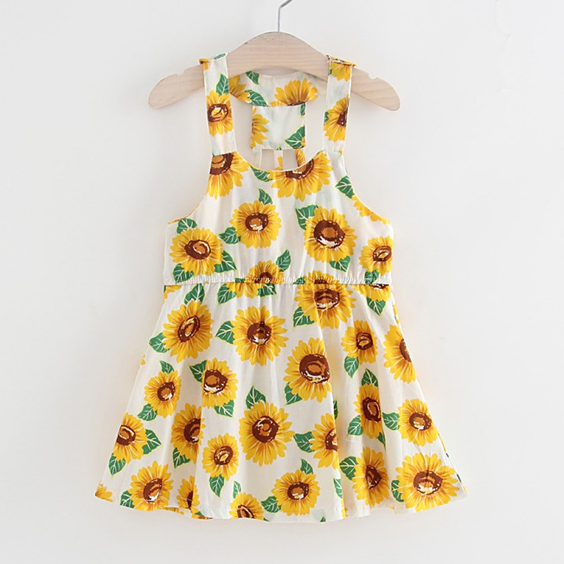 2018 Hot Baby Clothes Girl Sunflower Print Princess Dress New Summer Bebe Baby Dresses Kids Casual Clothes