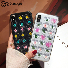 Qianliyao Cute 3D Love Heart Dried Flower Phone Case for iphone 6 6S 7 8 Plus X XS XR Max Real Soft TPU Back Cover