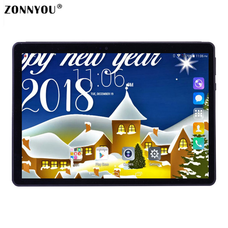 10.1 Inch Android 7.0 3G Phone Call Tablet PC 4GB 64GB  Built-in 3G Octa Core 1.5GHz OTG WiFi Bluetooth GPS (Black)