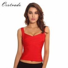 Free Shipping Bandage Top Women 2017 New Sexy Fashion White Knitted Rayon Bandage Tops Bustier Nude Pink Black Red