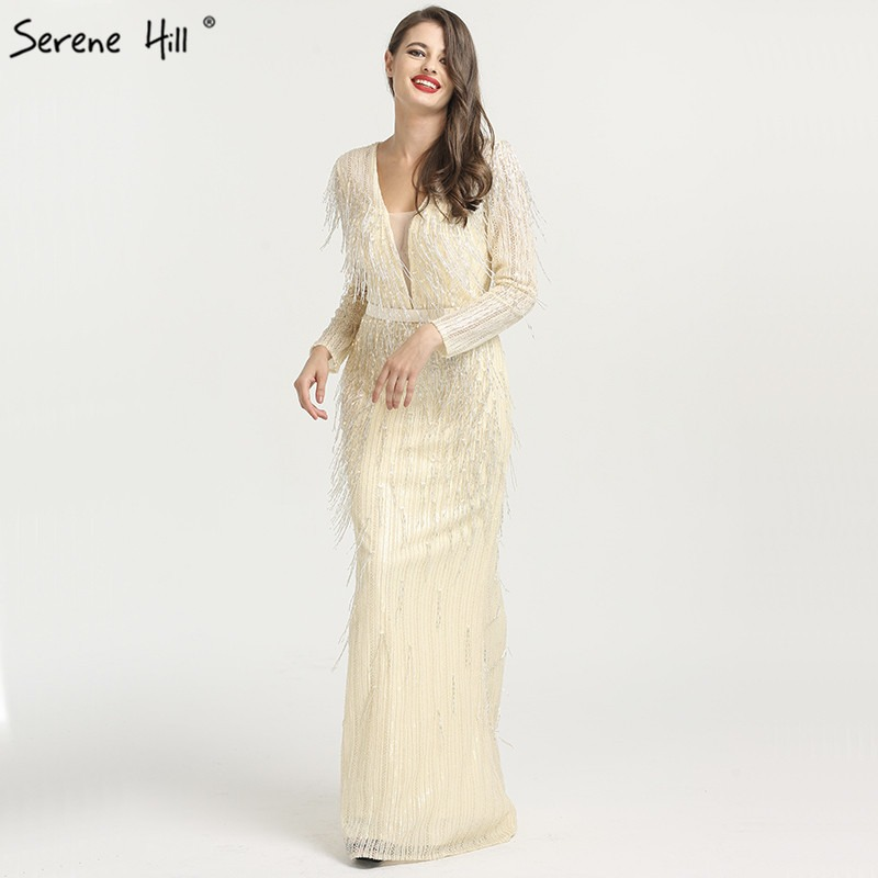 Evening Dresses Dubai Gold Beading Pearls Luxury Evening Dresses 2019 Latest Design V-neck Sleeveless Sexy Evening Gowns Serene Hill La60896