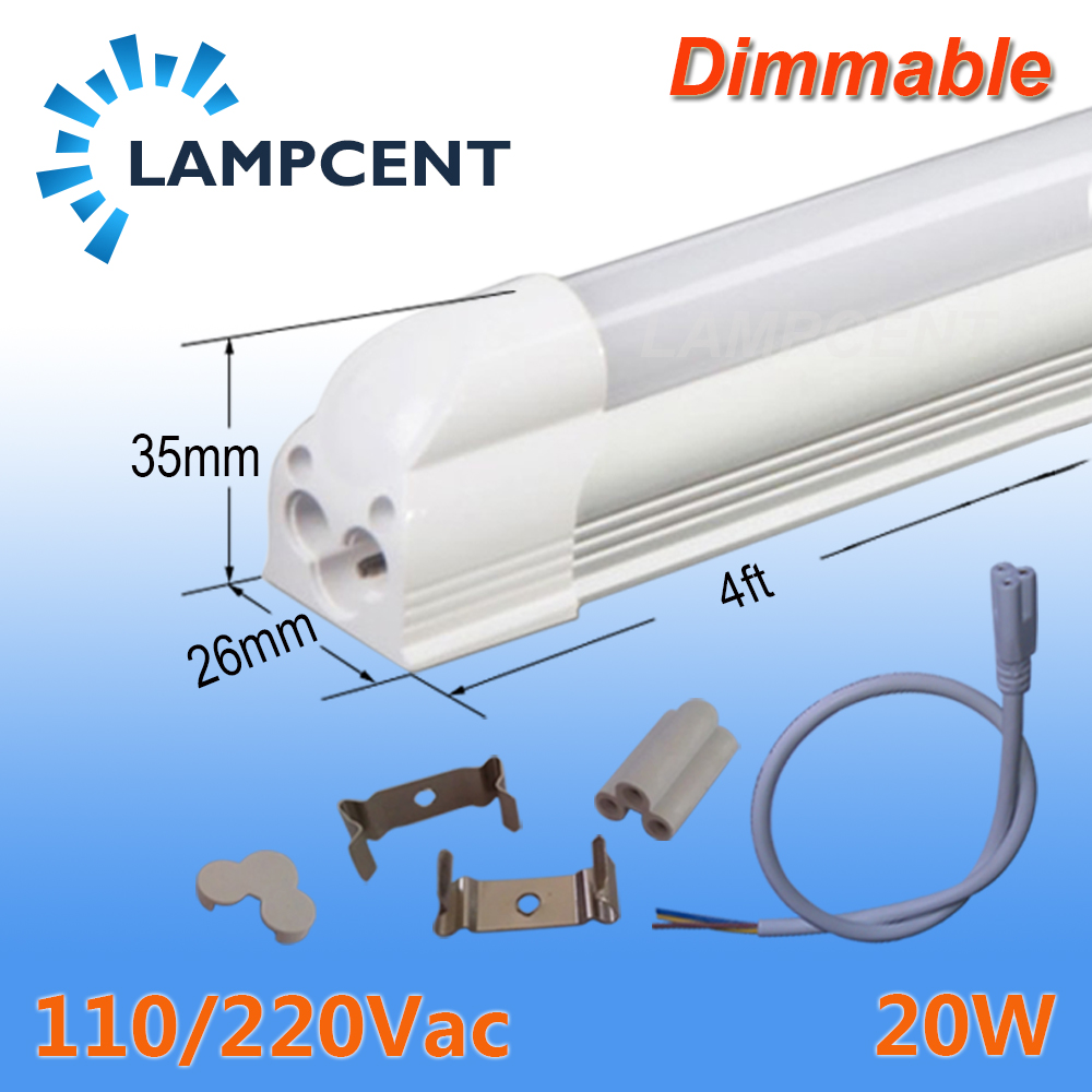 LED Tube Light 4 foot 1.2m 20W Dimmable Lamp T5 Integrated Bulb Fixture Linkable 48 Bar Linear Lights 110V 220V 4 pack free shipping t5 integrated led tube lights 5ft 150cm 24w lamp fixture with accessory milky clear cover 85 277v