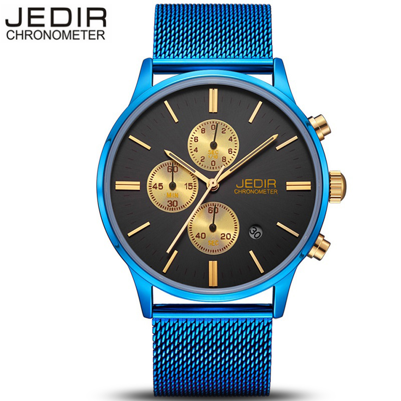 JEDIR Man Watches Top Brand Luxury Men Casual Business Chronograph Clock Quartz Watch Blue stainless steel Mesh Band Wrist Watch  jedir brand watches men luxury business stainless steel quartz watch chronograph luminous clock male sports waterproof watches