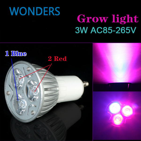 New hydroponics lighting AC85-265V 3W E27 GU10 Red/Bule high power LEDS Hydroponic Plant Grow Lights led bulb LED growth lamp ...